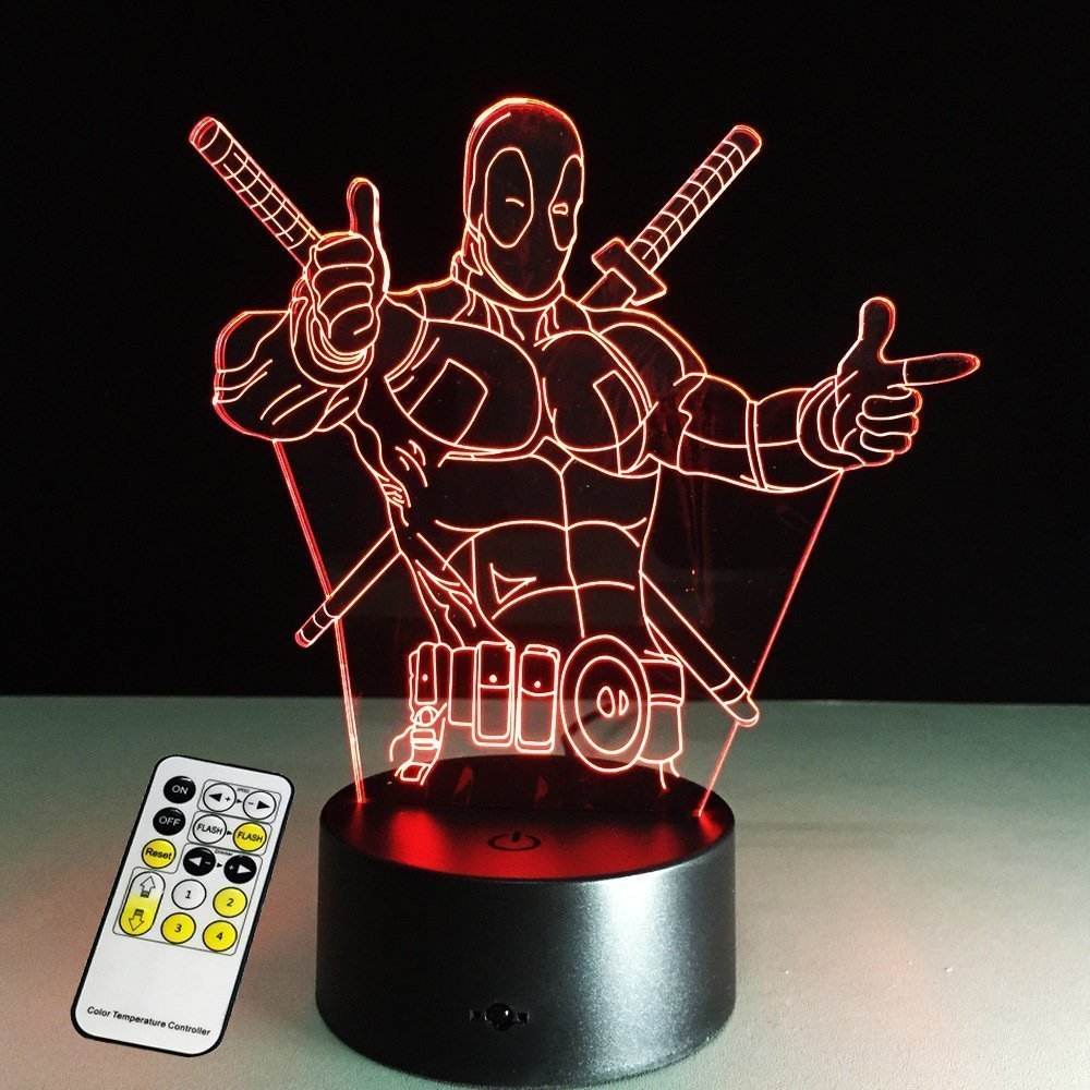 3D Lamp Deadpool Remote Control Best Gift For boys Acrylic Table Night light Furniture Decorative colorful 7 color change household Home Accessories