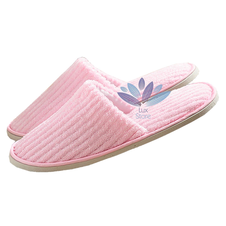 Bestdeallux Striped Coral Fleece Slipper Spa Salon Hotel Gebrauch Anti-Slippy Einweg Geschlossene Zehen Hausschuhe 10 Paar - Pink 9ZcAC