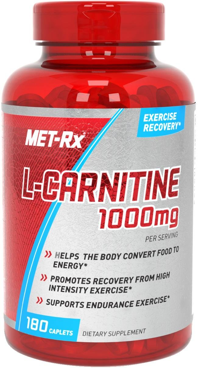 MET-Rx L-Carnitine 1000 Supplement, Supports Muscle Recovery, 180 Caplets by MET-Rx
