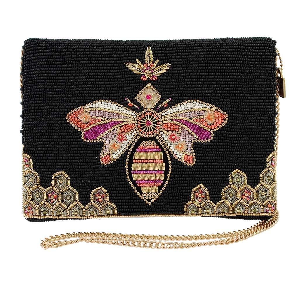 MARY FRANCES Bee-Lieve Beaded Bee Crossbody Clutch Handbag