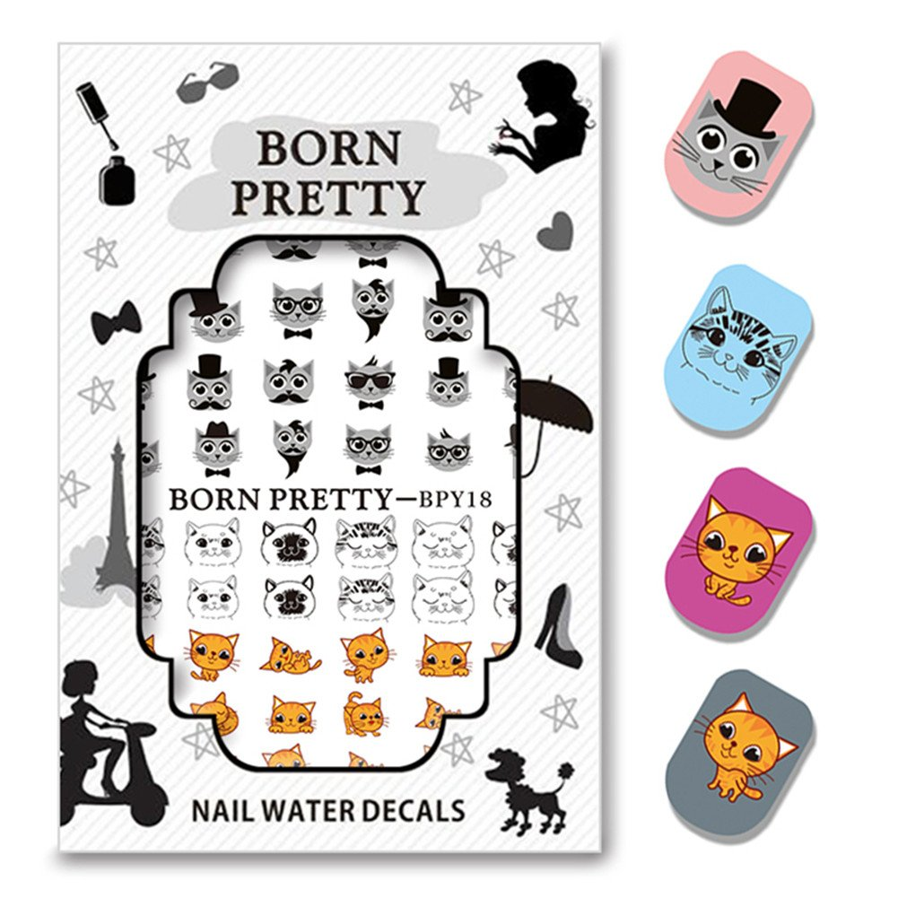 Born Pretty 2 Motifs/Planche Water Decals Motif Chat Mignon Sticker pour Nail Art Manucure Transfert StickerBPY18