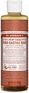 product image for Dr. Bronner's - Pure-Castile Liquid Soap (Eucalyptus, 8 ounce) - Made with Organic Oils, 18-in-1 Uses: Face, Body, Hair, Laundry, Pets and Dishes, Concentrated, Vegan, Non-GMO
