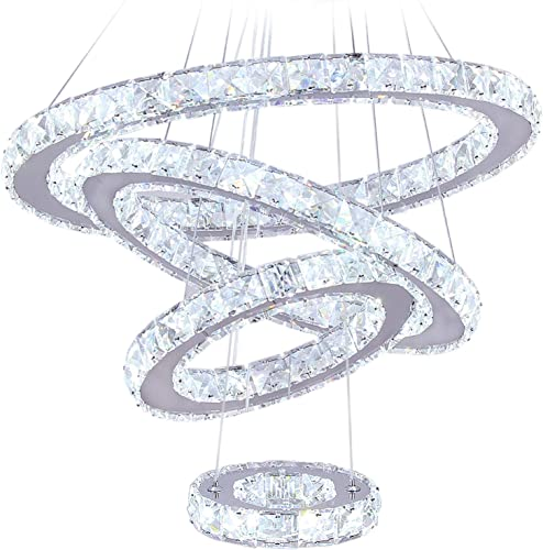 LED Chandeliers, Modern Crystal Chandelier Dining Room Living Room LED Ceiling Pendant Light 4 Rings Adjustable Stainless Steel Contemporary Chandeliers 4r Cool White
