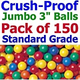 """Jumbo 3"""" Size - My Balls Pack of 150 Crush-Proof Ball Pit Balls - 5 Colors Phthalate Free; BPA Free; Non-Recycle Plastic"""