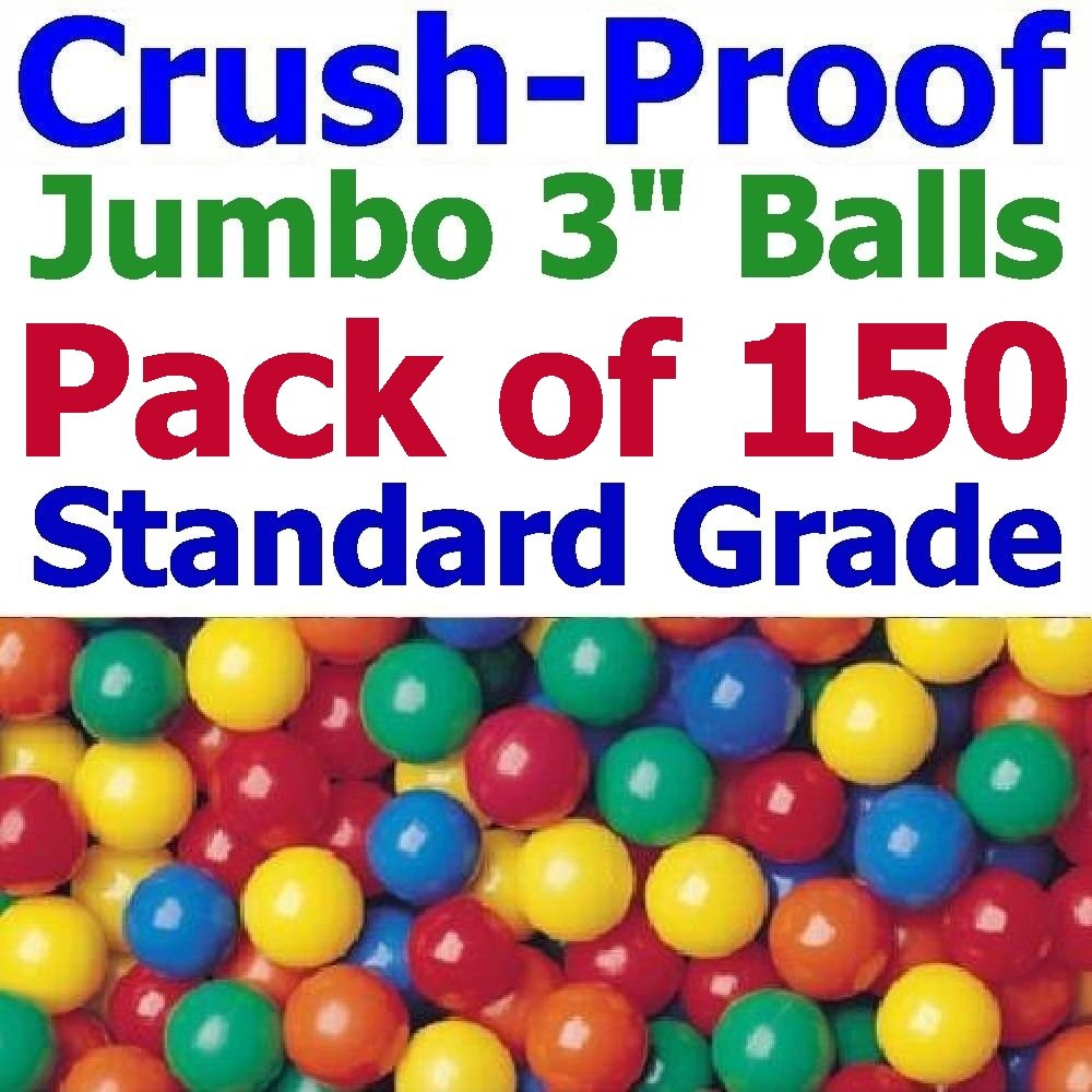 Jumbo 3'' Size - My Balls Pack of 150 Crush-Proof Ball Pit Balls - 5 Colors Phthalate Free; BPA Free; Non-Recycle Plastic