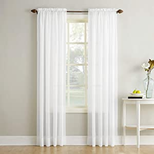 "No. 918 Erica Crushed Texture Sheer Voile Rod Pocket Curtain Panel, 51"" x 84"", White"