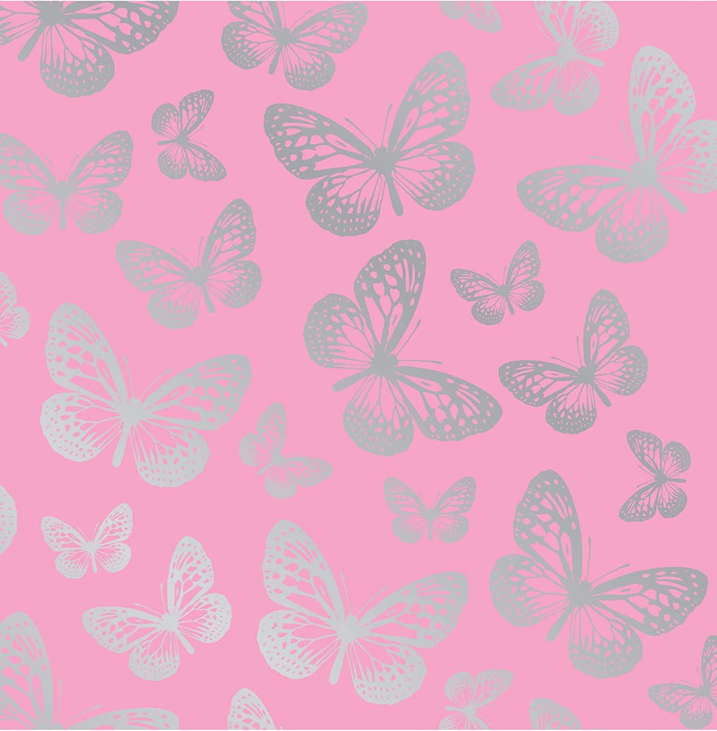 fun4walls effect butterflies wallpaper metallic silver amazoncouk kitchen home