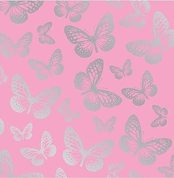 Fun4walls Papier Peint Papillons Rose Argente Amazon Fr Cuisine