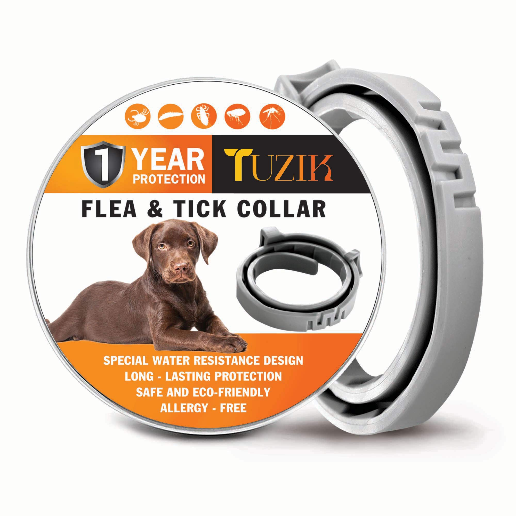 TUZIK Flea Collar for Dogs - 12 Months Flea and Tick Prevention - Dog Flea and Tick Treatment - Stable, Durable and Waterproof Flea and Tick Collar