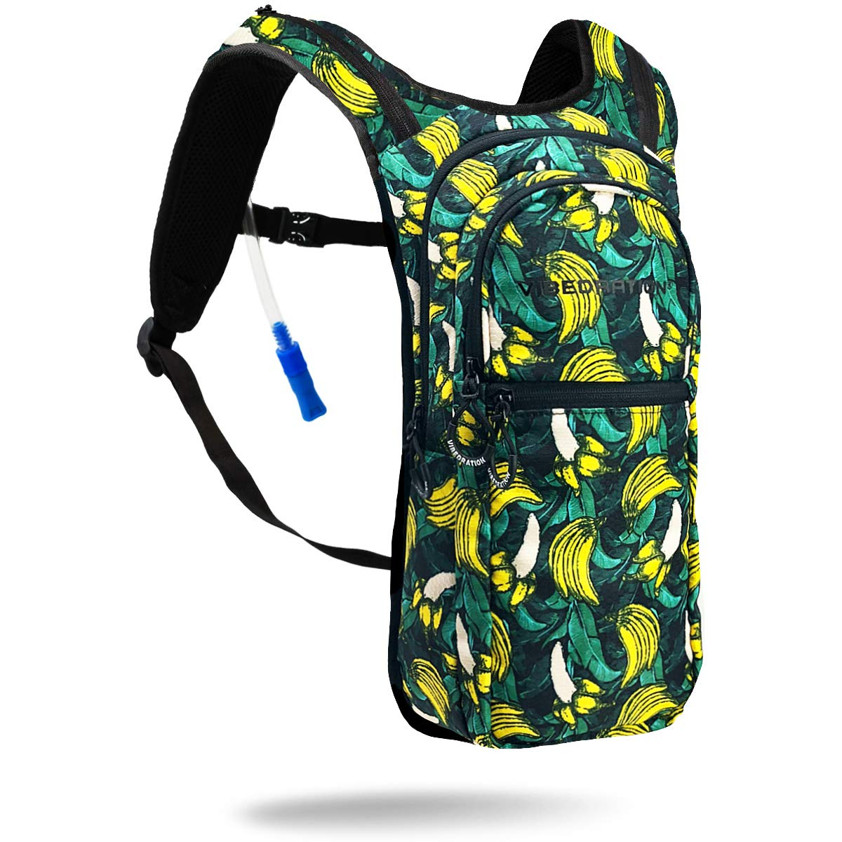 Vibedration VIP 2 Liter Hydration Pack | Festival Rave Hydration, Hiking Camping Backpack (Banana Jungle) by Vibedration (Image #1)