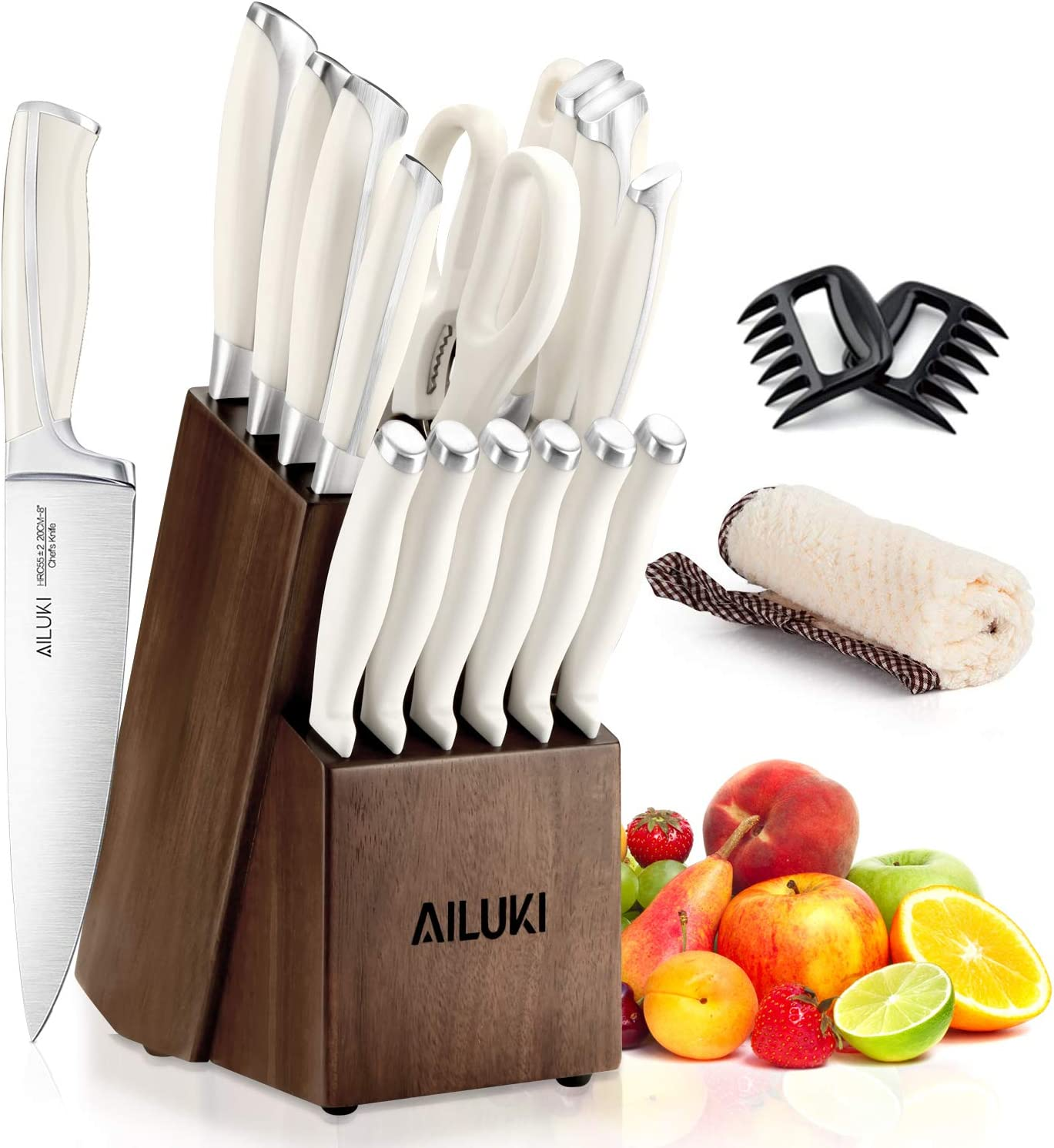 Knife Set, Kitchen Knife Set with Block, AILUKI 19 Pieces Stainless Steel Knife Set, Ergonomic Handle for Chef Knife Set with Gift Box, Ultra Sharp, Best Choice for Cooking -White