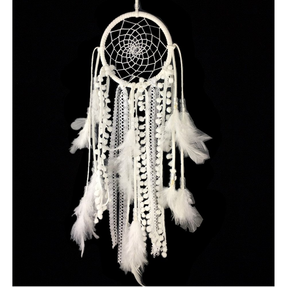 Dremisland Dream catcher Handmade Traditional White Feather Wall Hanging Car Hanging Home Decoration Ornament Decor Ornament Craft Gift (White)