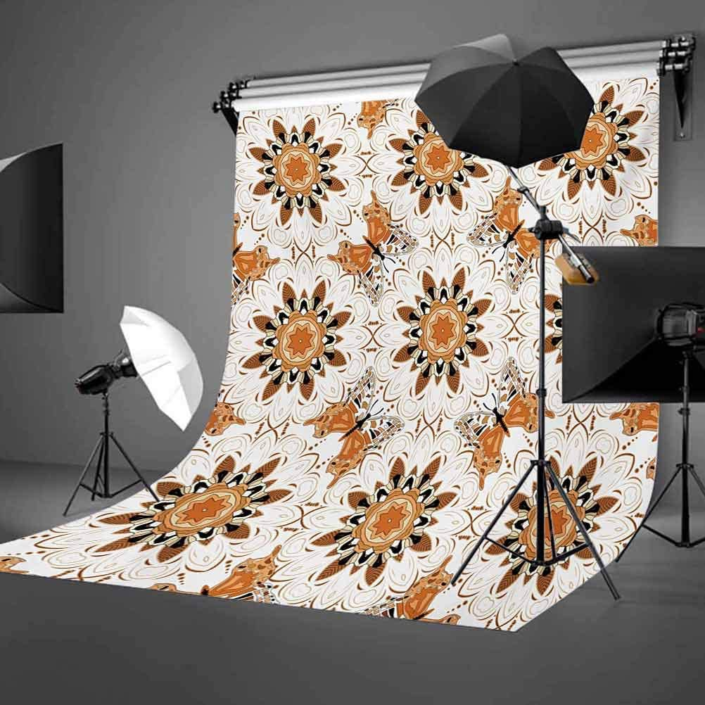 Tan and Brown 8x10 FT Backdrop Photographers,Figures and Butterflies Symmetrical Positions Vintage Oriental Mosaic Background for Baby Birthday Party Wedding Vinyl Studio Props Photography Multicolor