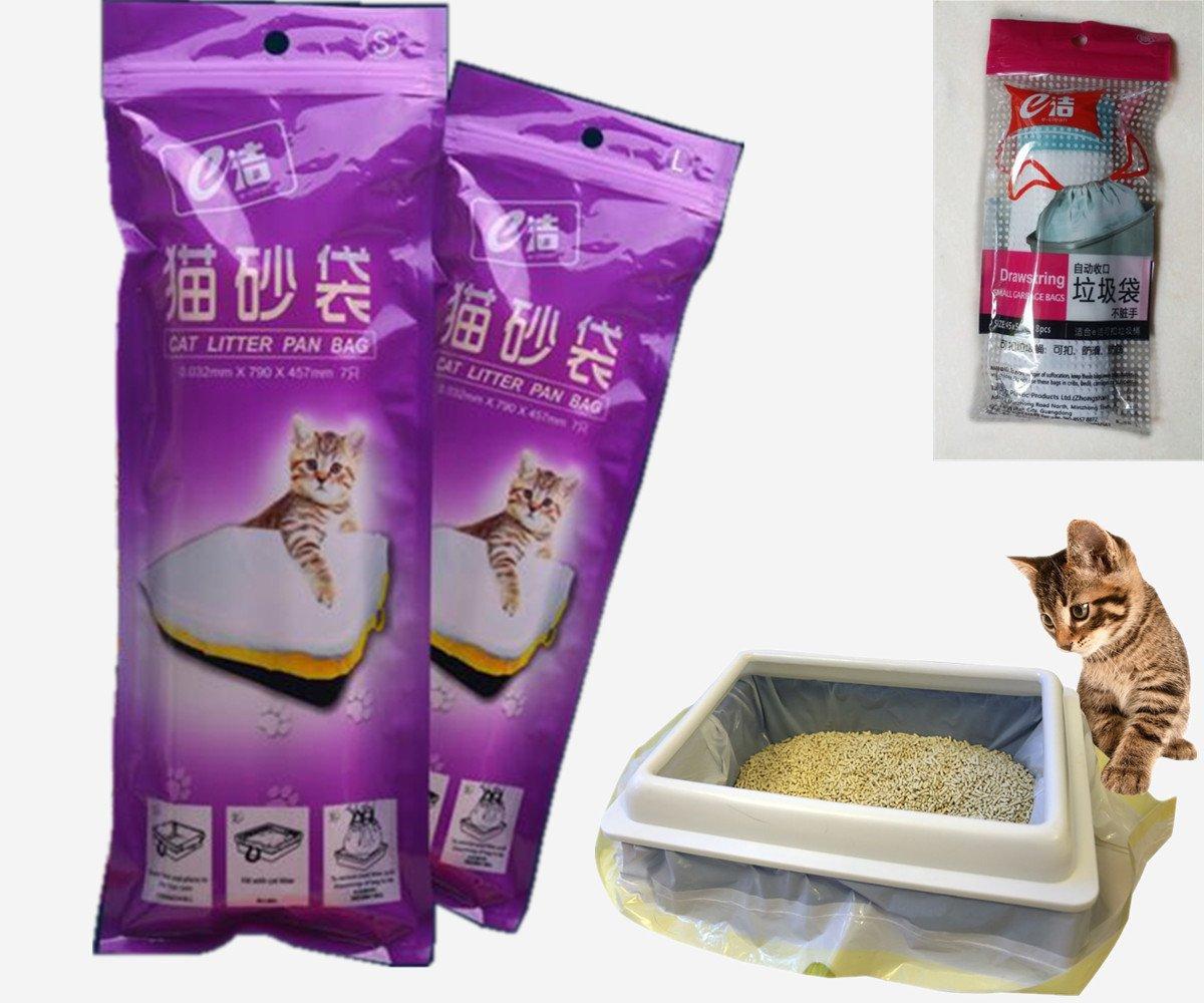 2 emballages de sacs Manfa (14 sacs) pour bac à litière pour chat, 8 sacs à poubelle (large) en cadeau. Manfâ