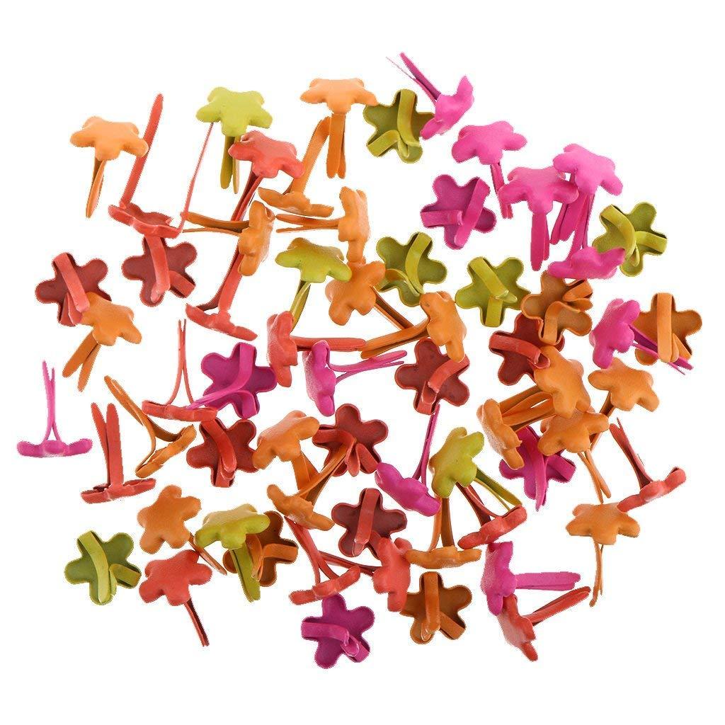 SGerste 100 Pieces 7.5mm Flower Brads Paper Craft Fasteners for Cardmaking Scrapbooking