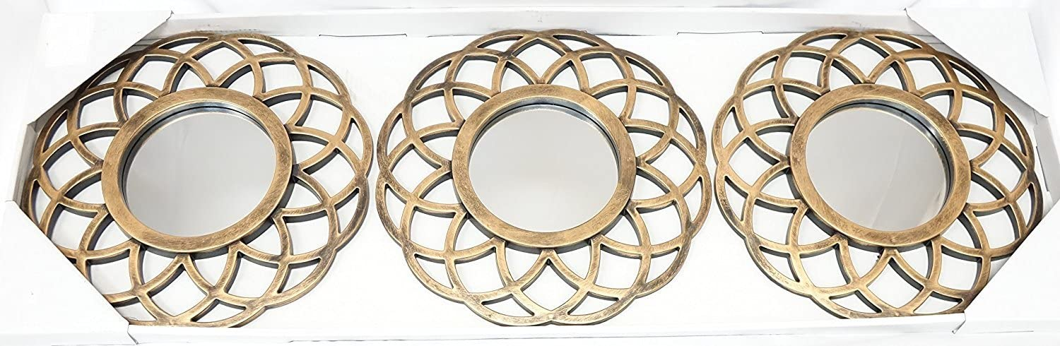 All American Collection New 3 Piece Decorative Mirror Set, Wall Accent Display (Golden Globe)