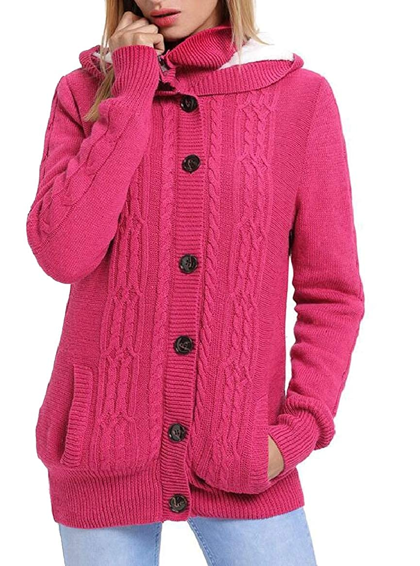 pink Red pujinggeCA Womens Cable Knit Sweaters Button Hooded Cardigan Coats with Pockets