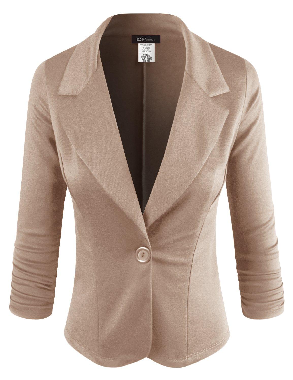 ELF FASHION Women Casual Work Knit Office Blazer Jacket Made in USA (Size S~3XL) Khaki 1XL