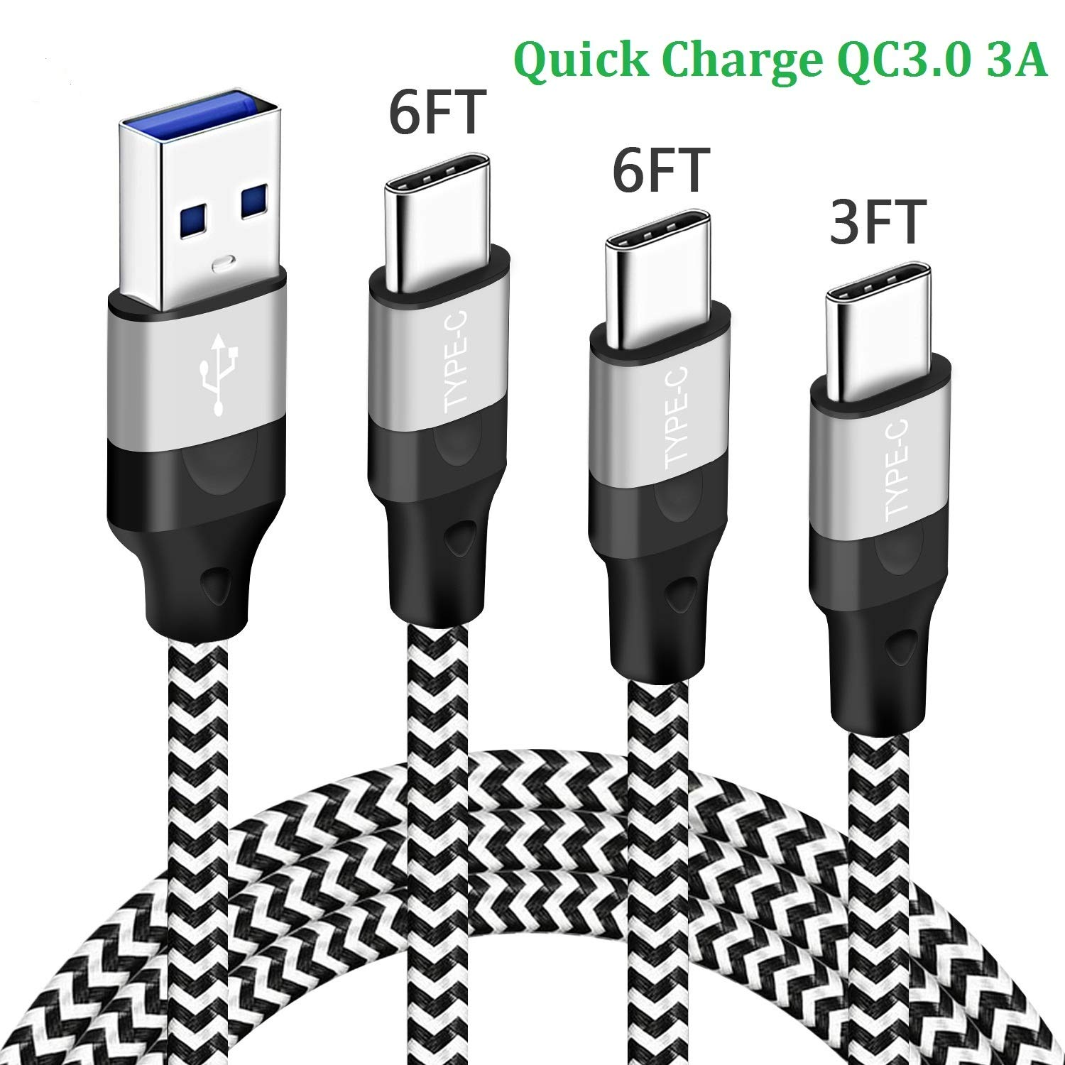 USB C Charging Cable Charger Cord for Moto G7 Play Power Z3,LG Stylo 5 V35 V40 Thinq,V30 V20 V30S Plus,Motorola Z2 Z Force Droid Edition,USB 3.0 Type C Fast/Quick Charge Power Data Phone Wire 3/6/6-FT