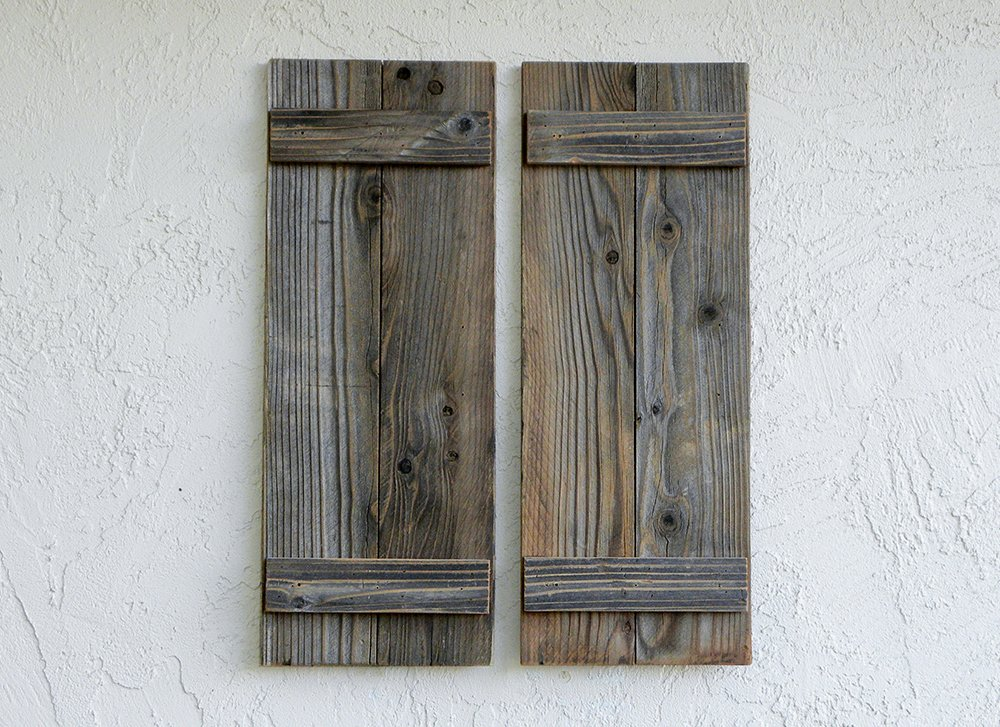Rustic Reclaimed Wood Shutters (Set of 2). 30x11in by ABELO Design (Image #1)