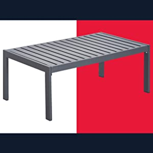 Tommy Hilfiger ODTB10012A Monterey Modern Patio Outdoor Furniture Collection, Weather Resistant, Metal Frame, Coffee Table, Navy Blue & Dark Gray