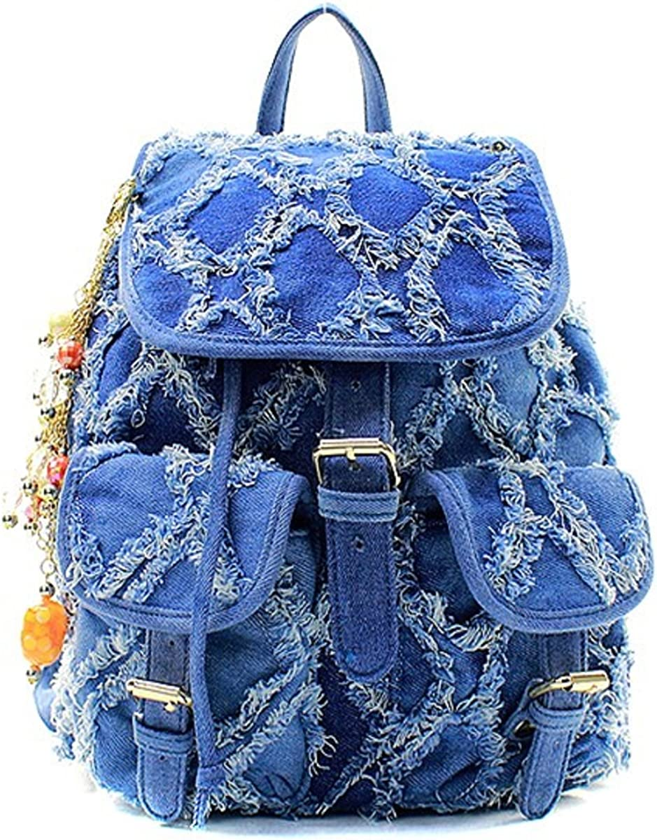 Light Blue Fashion Distressed Denim Backpack with Charm