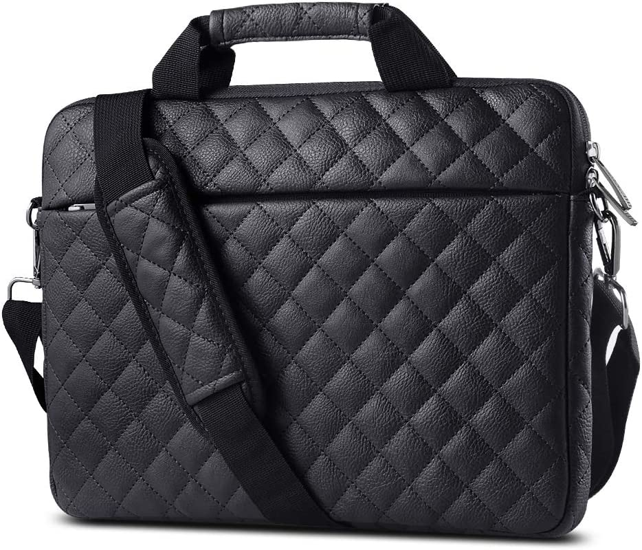 AtailorBird Laptop Bag 15.6 Inch, PU Leather Waterproof Notebook Shoulder Messenger Protective Bag Satchel with Handle for Ultrabook Tablet Cover Case - Black