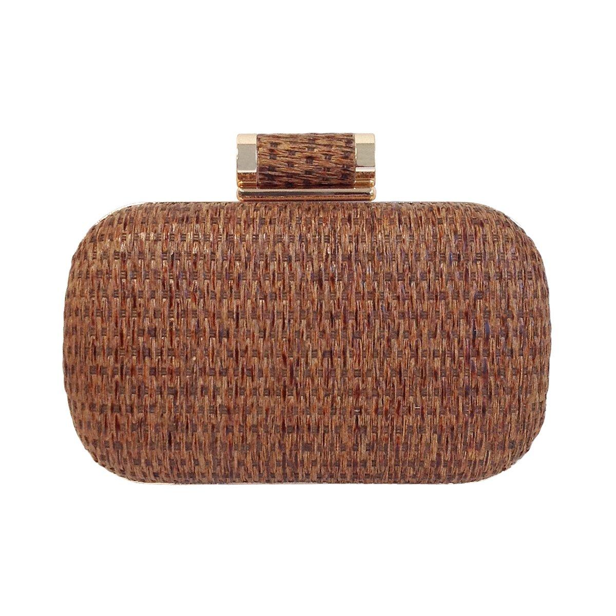 JNB Raffia Straw Box Clutch, Brown