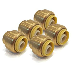 """(5) 1/2"""" Sharkbite Style Push to Connect Lead Free Brass Plugs Connector Fitting"""