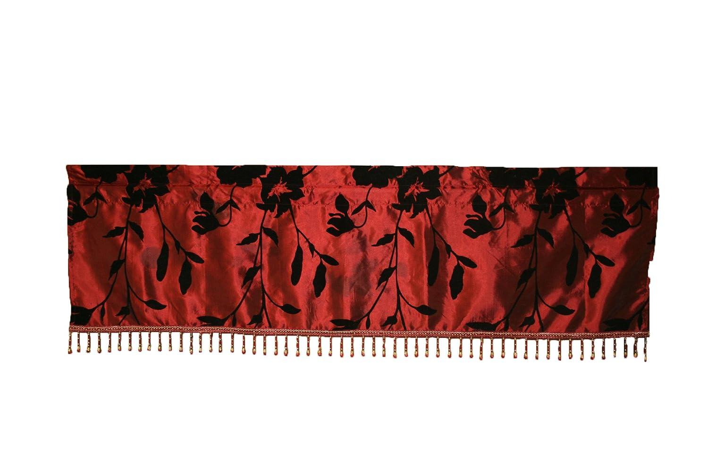 Beige 60 x 15 Violet Linen Silky Floral Window Valance