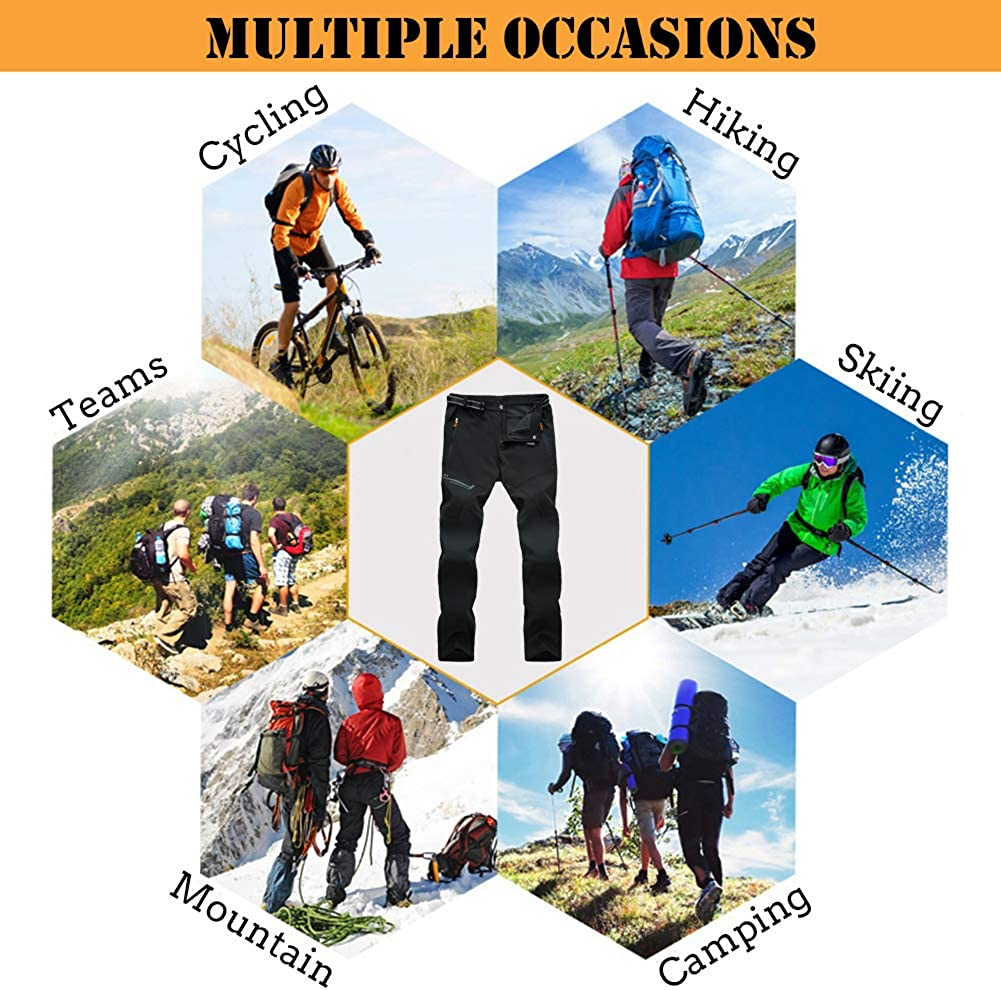 CARWORNIC Mens Outdoor Lightweight Hiking Pants Quick Dry Waterproof Climbing Camping Pants with Zipper Pockets