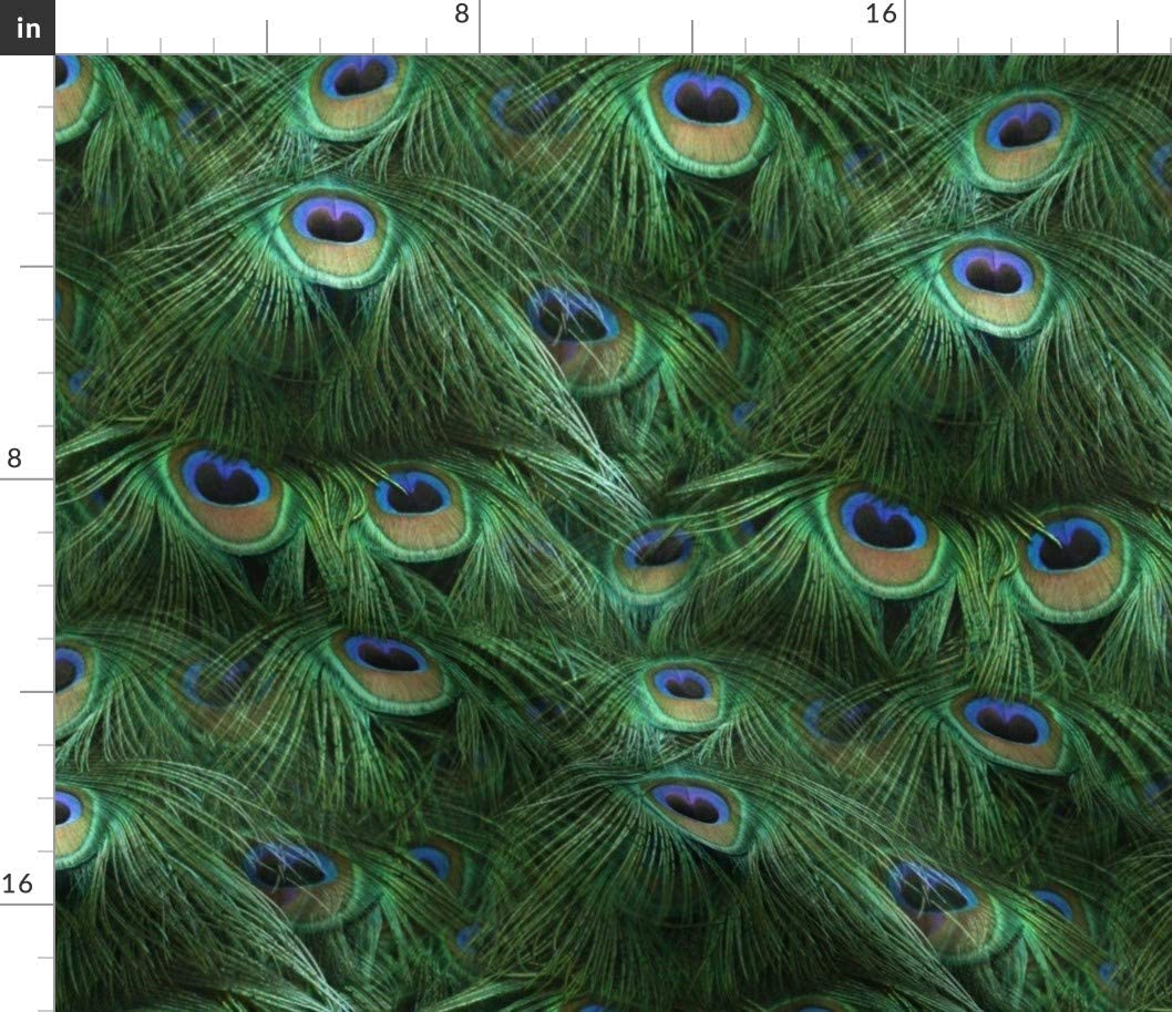 Spoonflower Fabric - Tale Peacock Tail Feathers Feather Bird Fancy Photographic Abstract Printed on Upholstery Velvet Fabric by The Yard - Upholstery Home Decor Bottomweight Apparel