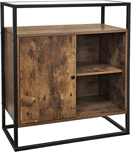 VASAGLE Console Table, Entryway Cabinet with Stable Tempered Glass Top, for Hallway Lounge,Living Room, Easy Assembly, Industrial Design, Rustic Brown ULSC12BX