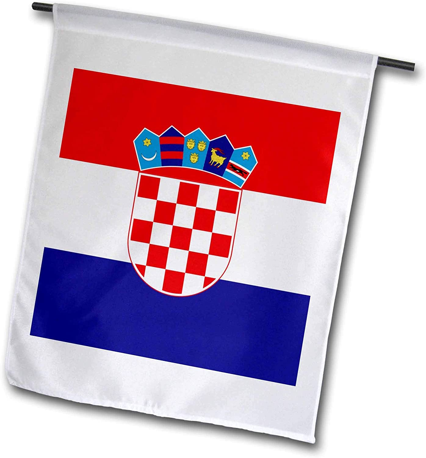 3dRose fl_158301_1 Flag of Croatia-Croat Red White Blue Stripes-Croatian Coat of Arms Shield-Europe Country World Garden Flag, 12 by 18-Inch