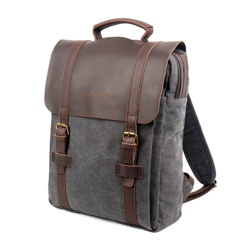 Grey Gravel Canvas Backpacks Vintage Rucksack Casual Leather Travel Bag Daypacks 15'' Laptop for College School Bookbag (Grey) by Grey Gravel