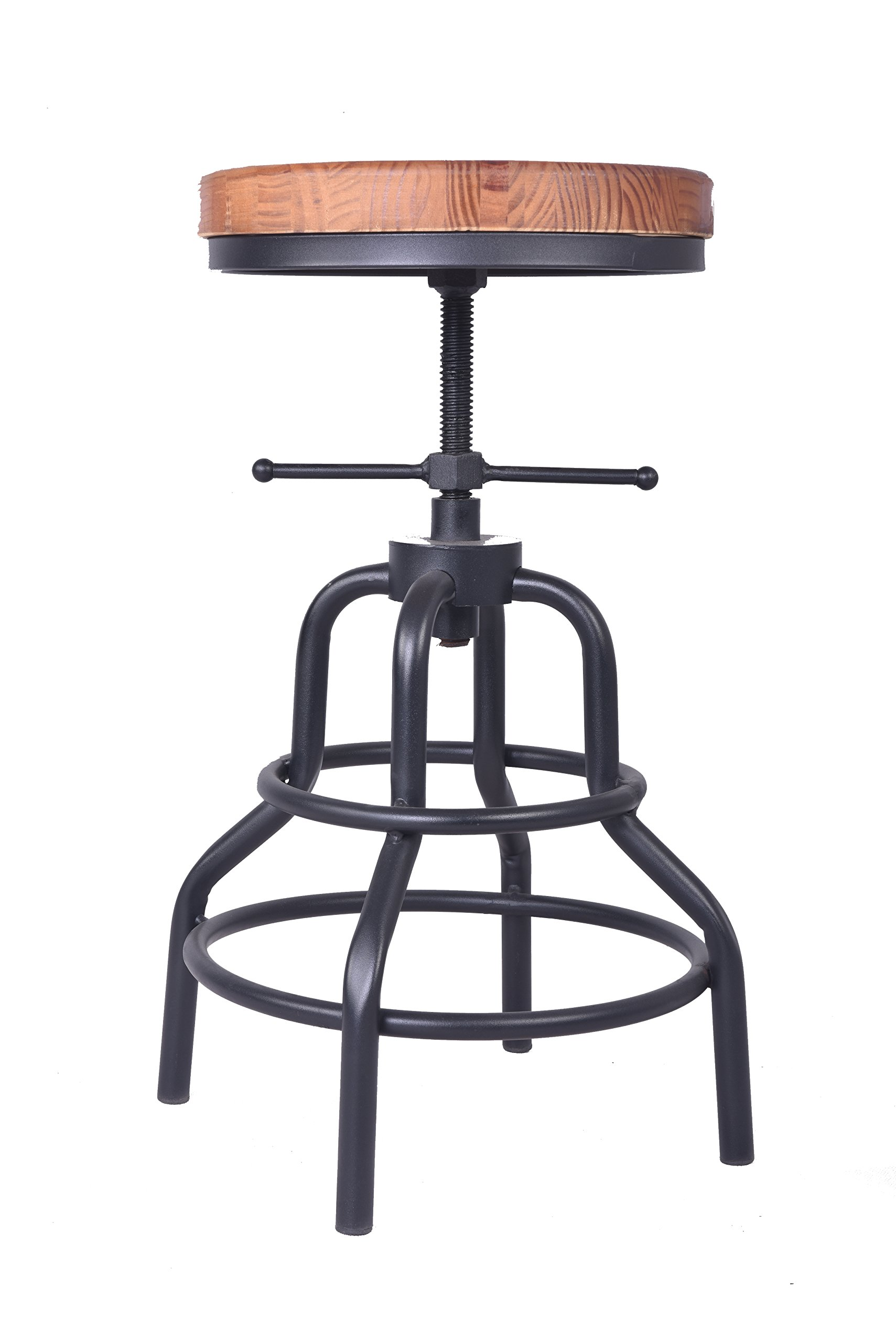 Articial Industrial Bar Stool,Swiveling Wood Seat,Metal Frame Footrest Function,Height Adjustable