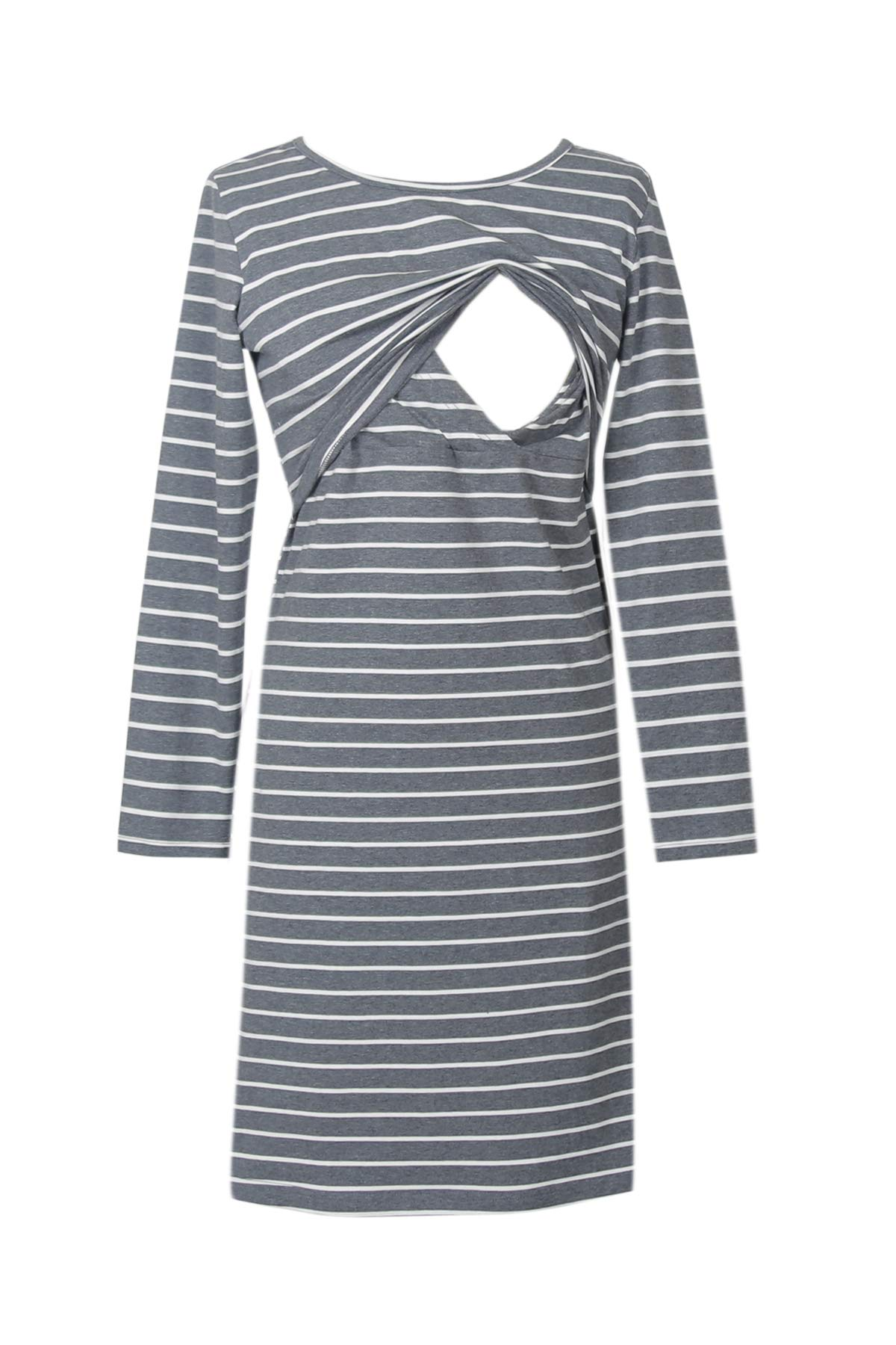 Smallshow Women's Stripes Nursing Dress Large Dim Grey