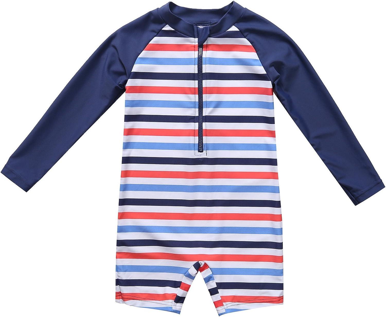ALove Baby Girls Boys Zipper Rash Guard Short Sleeve One Piece Swimsuit