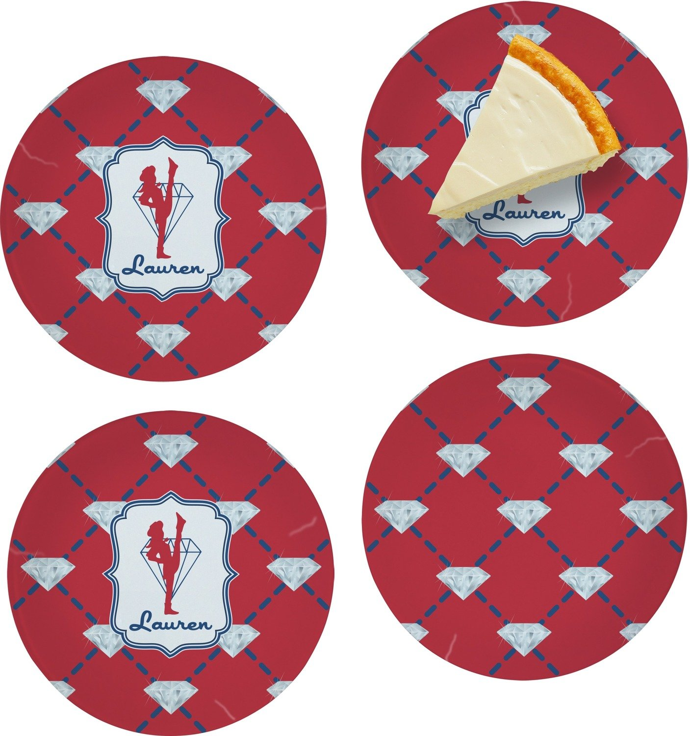 Red Diamond Dancers Set of Appetizer / Dessert Plates (Personalized)
