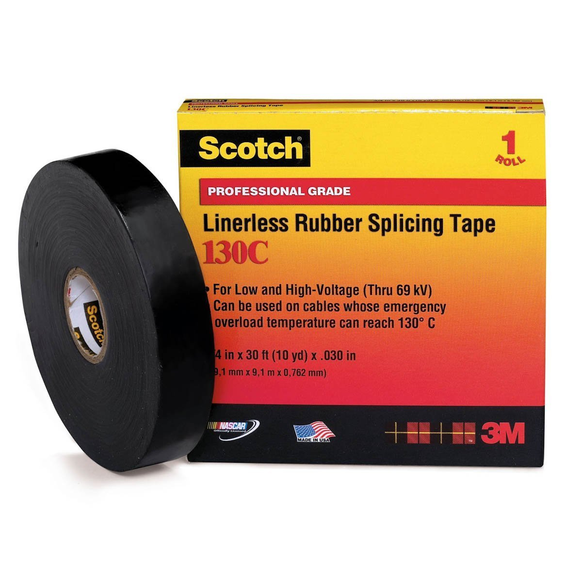 3M 130C High-Voltage Rubber Splicing Electrical Tape, 1'' X 30' (1 per Pack)
