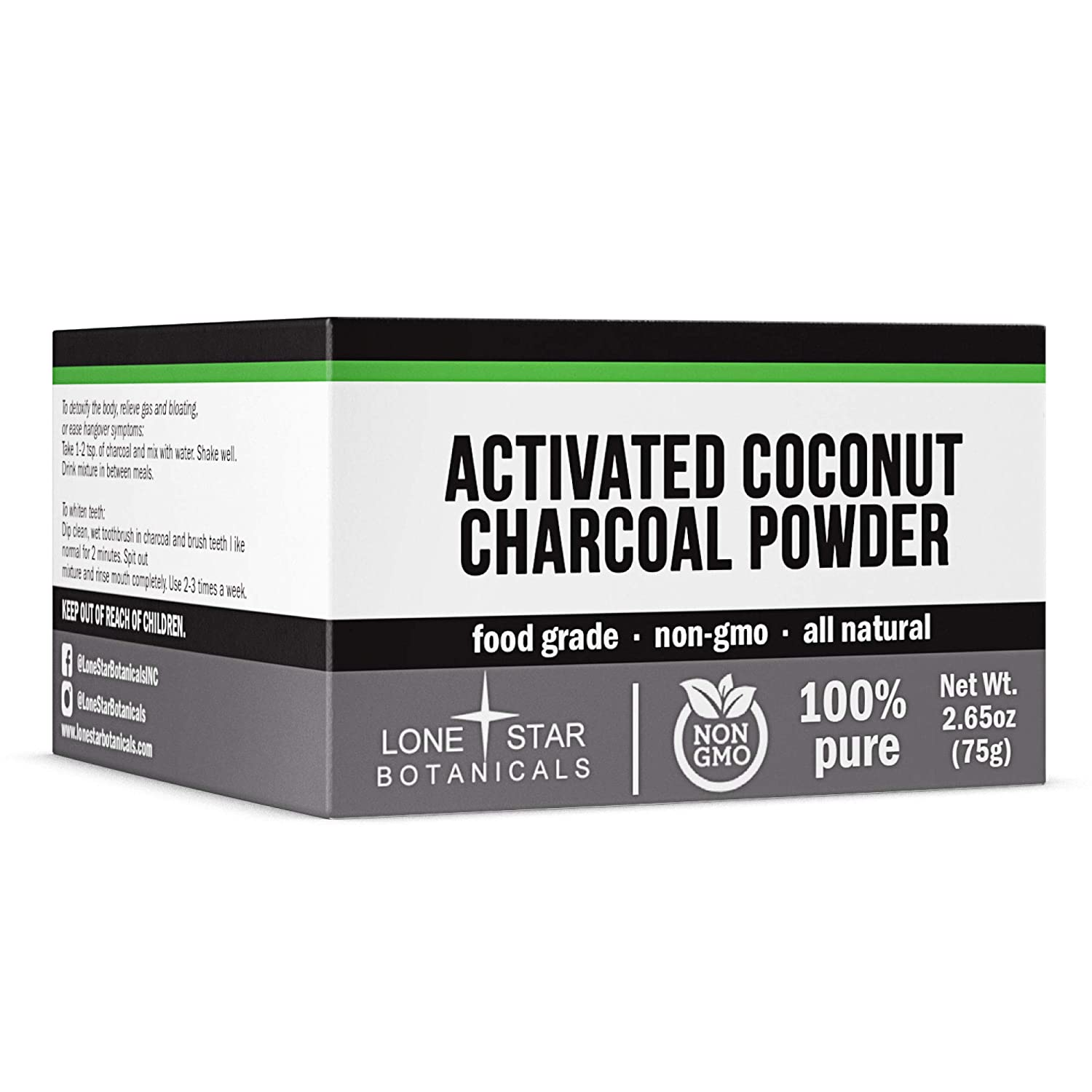 Lone Star Botanicals - Activated Coconut Charcoal Powder - Food Grade & GMO-Free for Teeth Whitening, Facial Masks, Soap Making, Skin Health - Rejuvenates Skin & Hair - Helps w/Digestion & Bug Bites