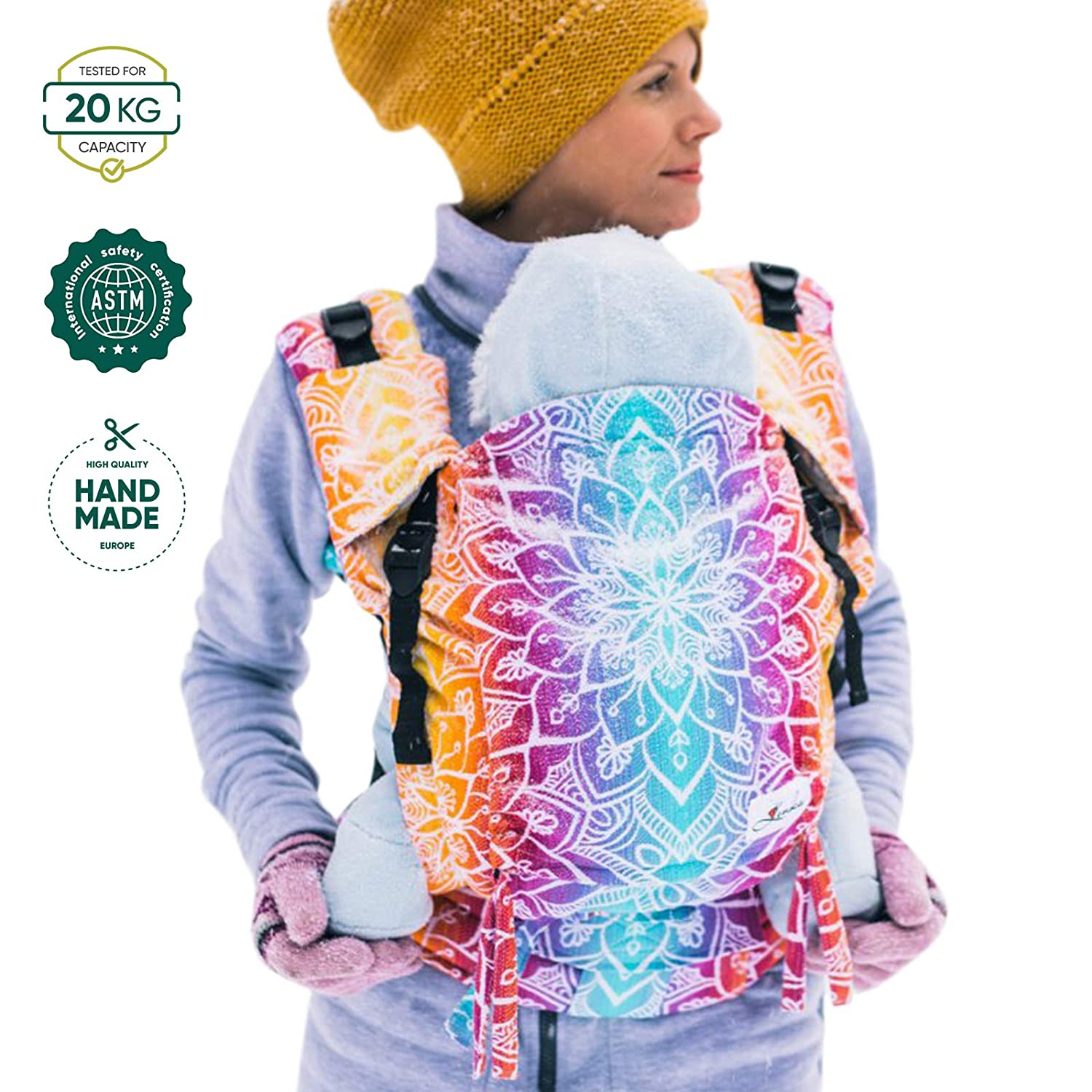 Be Lenka Ergonomic Baby Carrier Mandala Night Colour Grows with Your Baby from 3 Months to About 3-Year-Old Handmade in Europe Standard Shoulder Straps