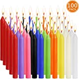 "YIIA 100 pcs Unscented Assorted Colors Mini Taper Candle | 4"" Tall x 1/2"" Diameter 
