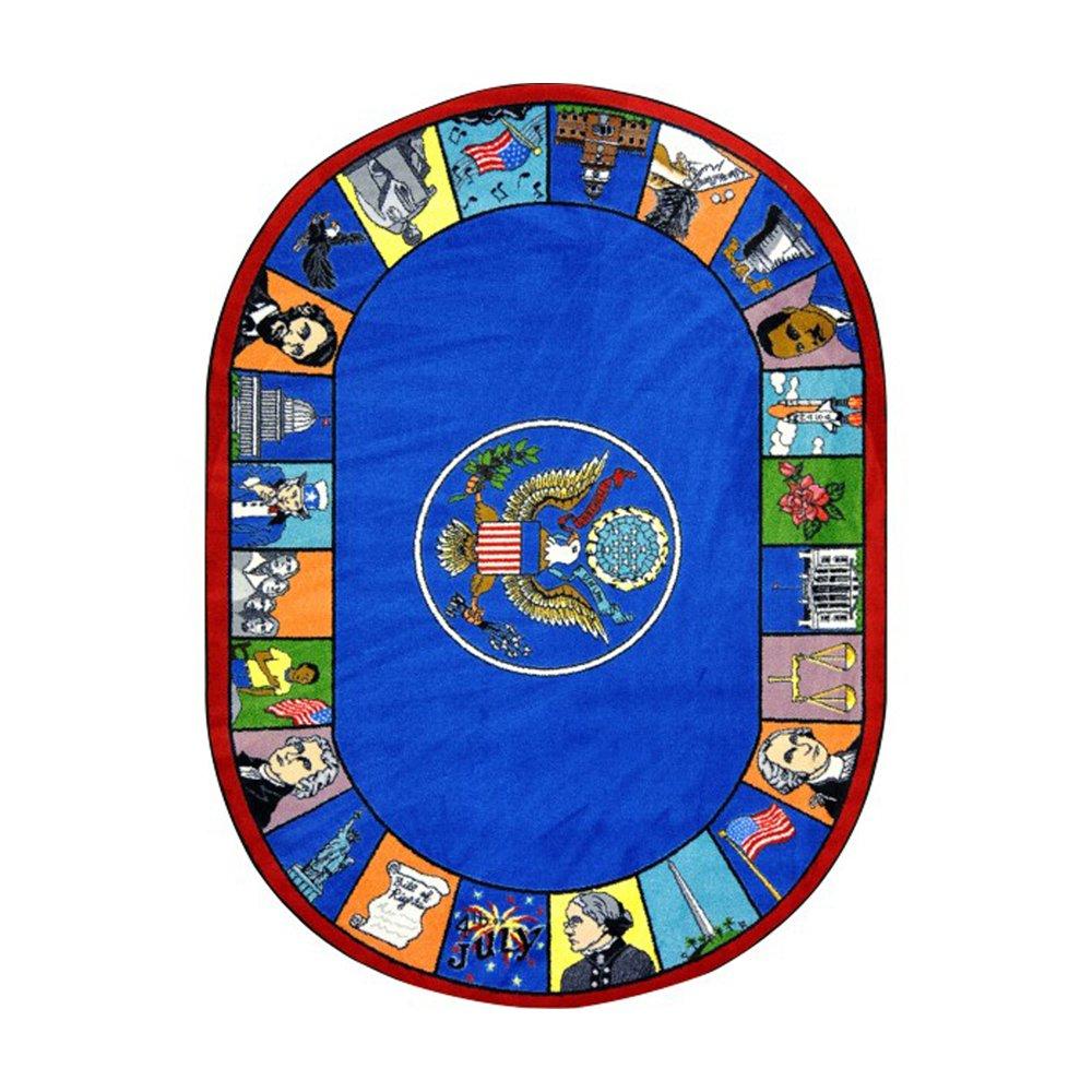 Joy Carpets Kid Essentials Early Childhood Oval Symbols of America Rug, Multicolored, 5'4'' x 7'8'' by Joy Carpets