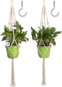 Tvird Macrame Plant Hangers with 2 Hooks for Indoor Plants and Outdoor Plants,2 Pack 41 inch Handmade Cotton Hanging Plant Holder with 4 Legs for Home,Garden,Office Decor (Rice White)