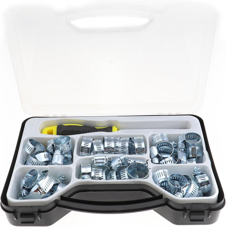 cr/éer des Idear 51/pcs Collier de Serrage Colliers de Serrage en Acier Carbone Assorties Lot Outil hexagonales Box Kit