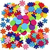SUNSWEI 4 Shapes 150pcs Craft Felt Flowers Mixed Color for the DIY Craft Decoration of Clothes, Bags, Shoes, Etc