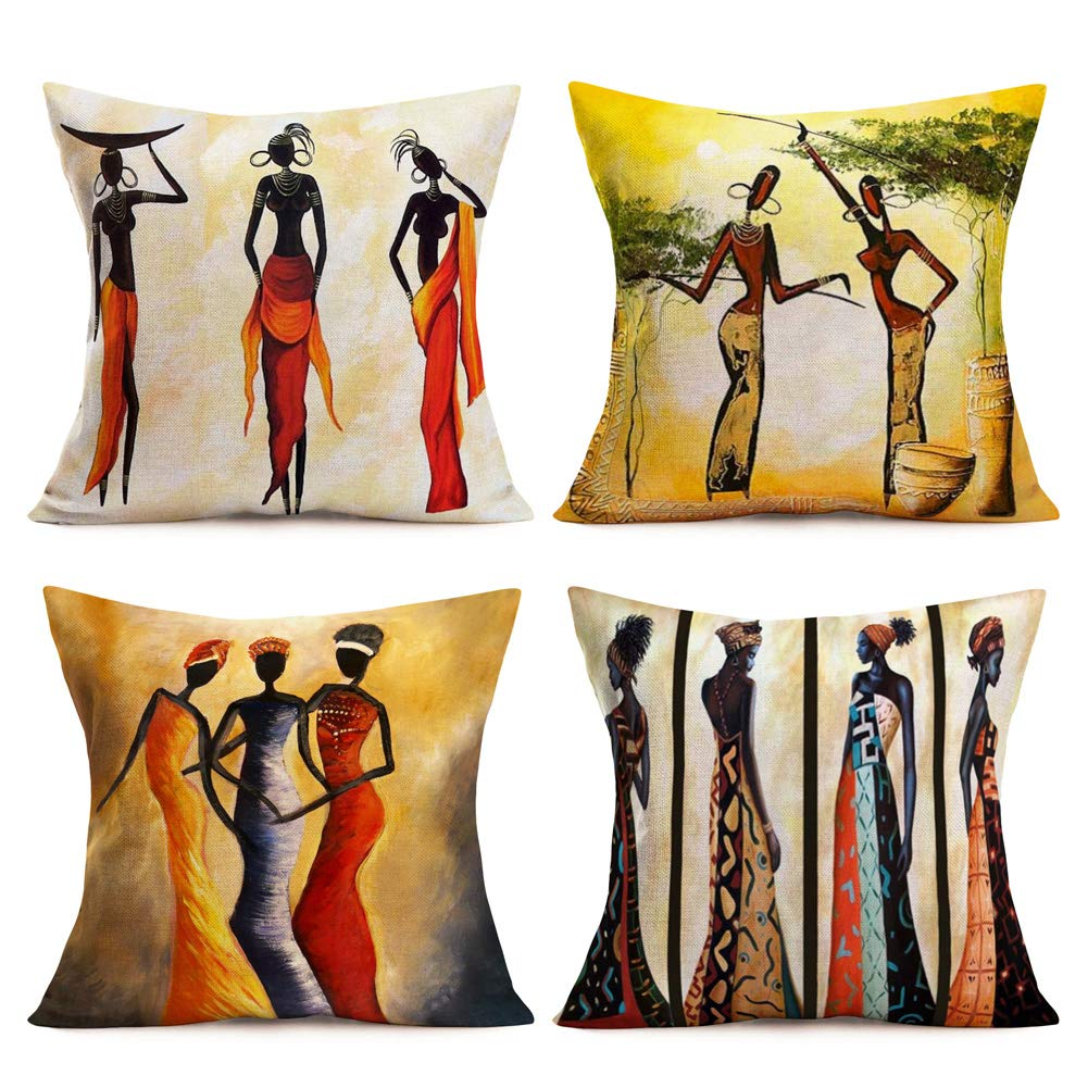 "Royalours Throw Pillow Covers African Tribe Ethnic Series Cotton Linen Vintage Tribe Lady Art Painting Style Decorative Cushion Cases Outdoor Pillowcases Home Decor 18"" x18"" Set of 4 (African Women)"
