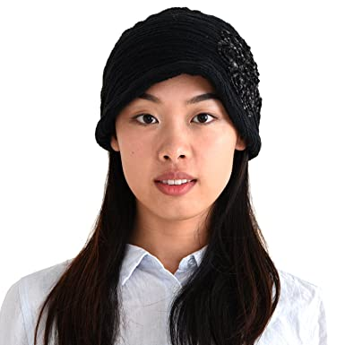 612673b465d0 CHARM Casualbox Womens Slouchy Beret Watch Cap Beanie All Season Slouch  Beanie Baggy Flower Hat Black: Amazon.co.uk: Clothing