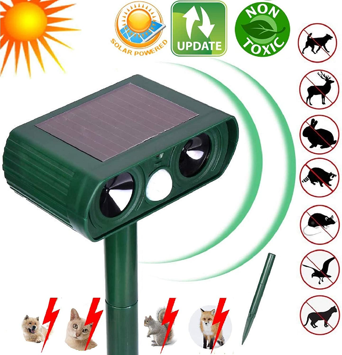 N3 ZELEK Cat Repellent Solar Battery Ultrasonic Pest Repeller Cat Scarer Fox Deterrent NEWEST UPGRADED 2020 Cat Deterrent Garden Dog Bed Garden Fox Repellent Cat Bed Bird Scarer